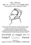 Varese: Max Stirner. Tra il lutto e lo sberleffo.