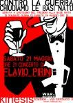 Sabato 21, Flavio Pirini al Kinesis. Contro la guerra, chiudiamo le basi N.A.T.O.!
